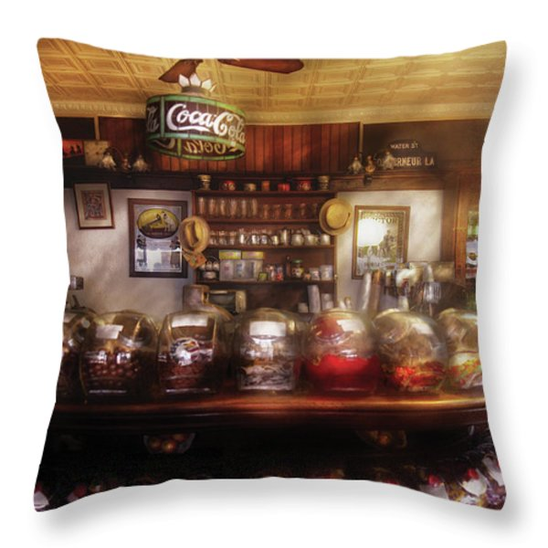 City - NY 77 Water Street - The candy store Throw Pillow by Mike Savad