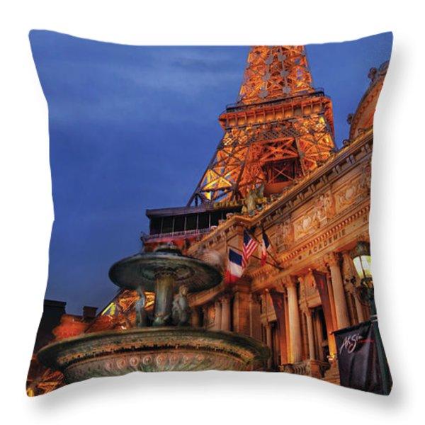 City - Vegas - Paris - Academie Nationale - Panorama Throw Pillow by Mike Savad