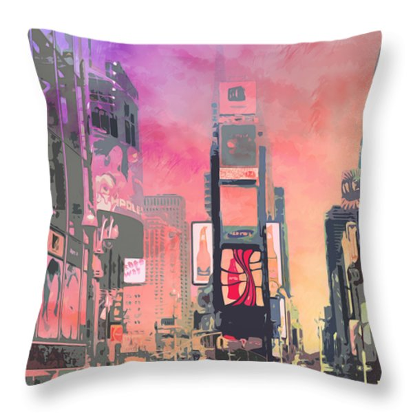 City-art Ny Times Square Throw Pillow by Melanie Viola