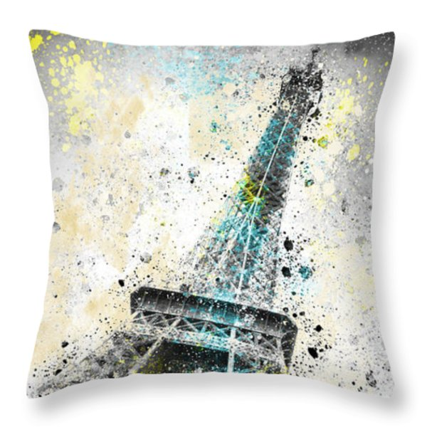 City-Art PARIS Eiffel Tower IV Throw Pillow by Melanie Viola