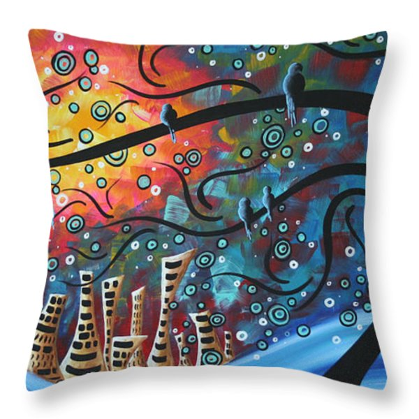 City by the Sea by MADART Throw Pillow by Megan Duncanson