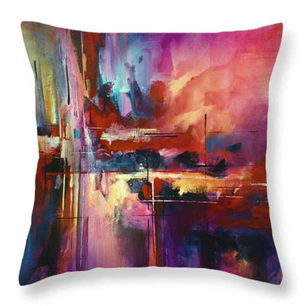 'CITY of FIRE' Throw Pillow by Michael Lang