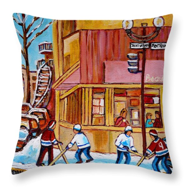 City Of Montreal St. Urbain And Mont Royal Beautys With Hockey Throw Pillow by Carole Spandau