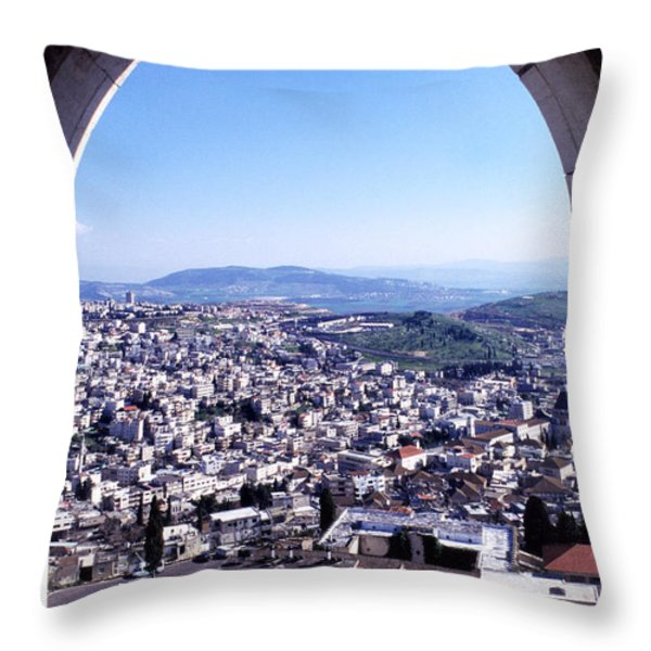 City of Nazareth from the Saint Gabriel Bell Tower Throw Pillow by Thomas R Fletcher