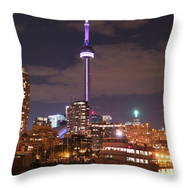 City Of Toronto At Night Throw Pillow by Oleksiy Maksymenko