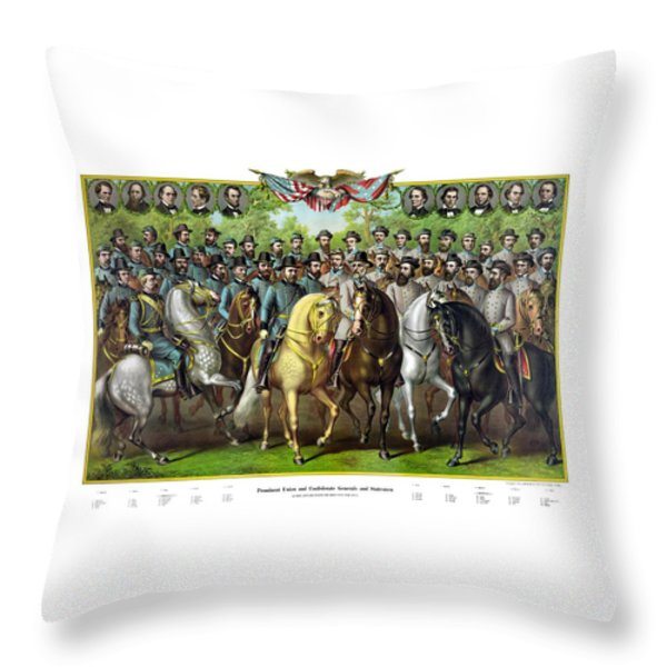 Civil War Generals And Statesman With Names Throw Pillow by War Is Hell Store