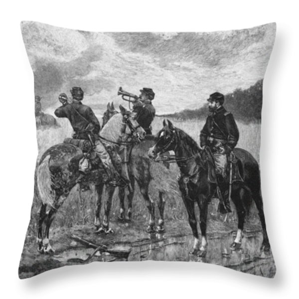 Civil War Soldiers On Horseback Throw Pillow by War Is Hell Store