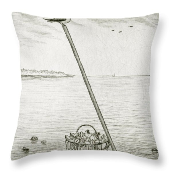 Clamming Throw Pillow by Charles Harden