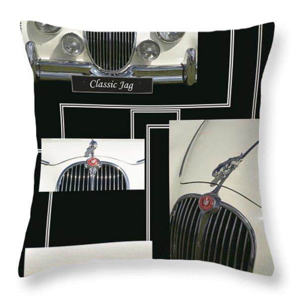 Classic Jag Throw Pillow by Malc McHugh