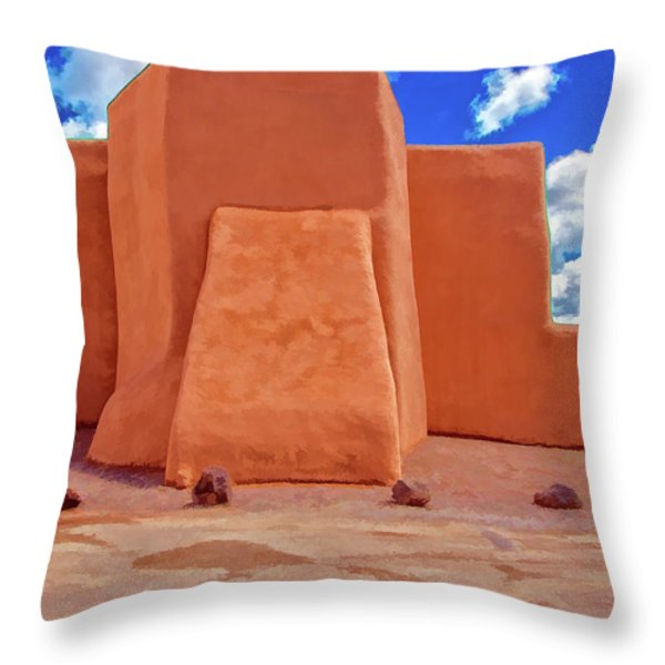 Classic View Of Ranchos Church As Oil Throw Pillow by Charles Muhle