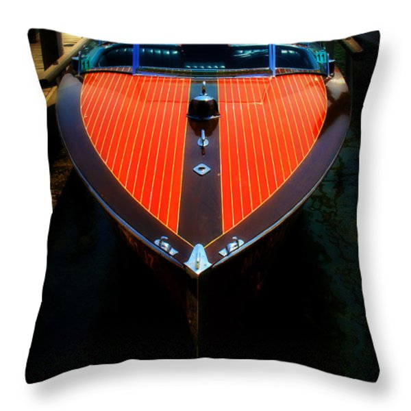 Classic Wooden Boat Throw Pillow by Perry Webster