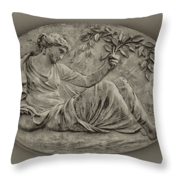 Classical Greek Woman Fresco Throw Pillow by Bill Cannon
