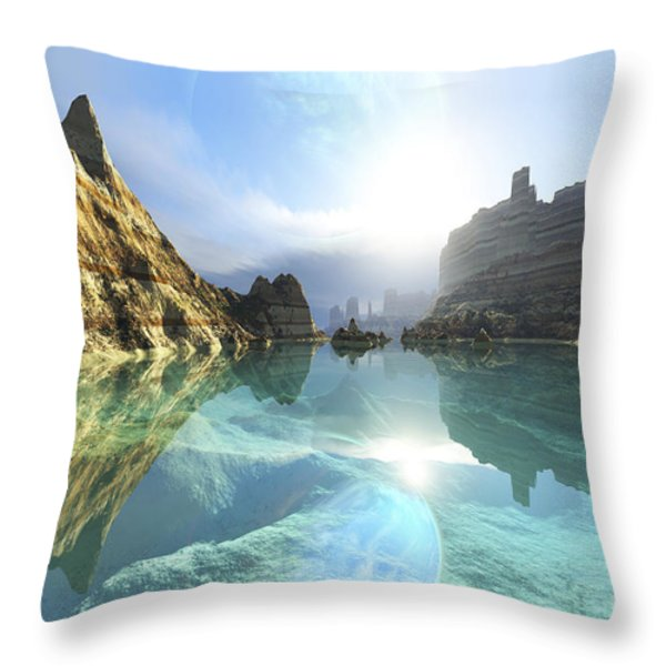 Clear Canyon River Waters Reflect Throw Pillow by Corey Ford