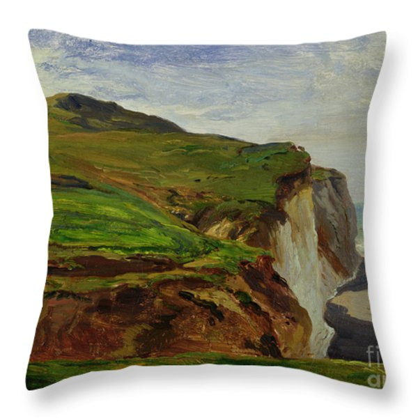 Cliffs Throw Pillow by Louis Eugene Gabriel Isabey