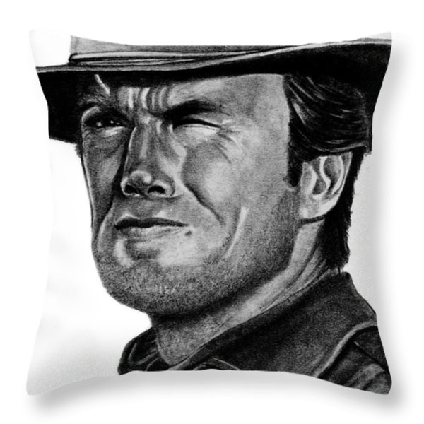 Clint Eastwood Throw Pillow by Bill Richards