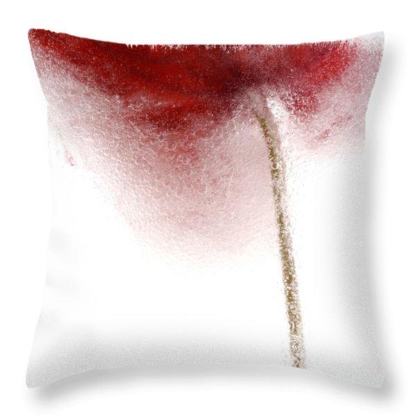 Close-up Of Droplets Of Water On A Tulip Throw Pillow by Bernard Jaubert