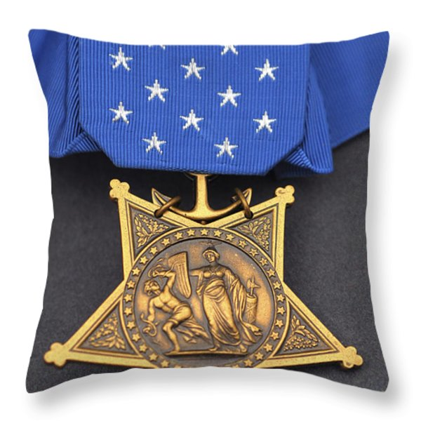 Close-up Of The Medal Of Honor Award Throw Pillow by Stocktrek Images