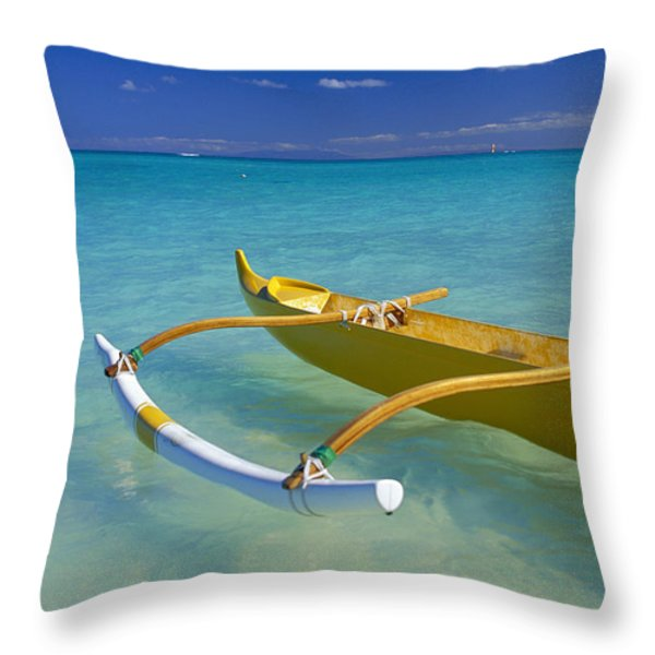 Close-Up Yellow Canoe Throw Pillow by Dana Edmunds - Printscapes