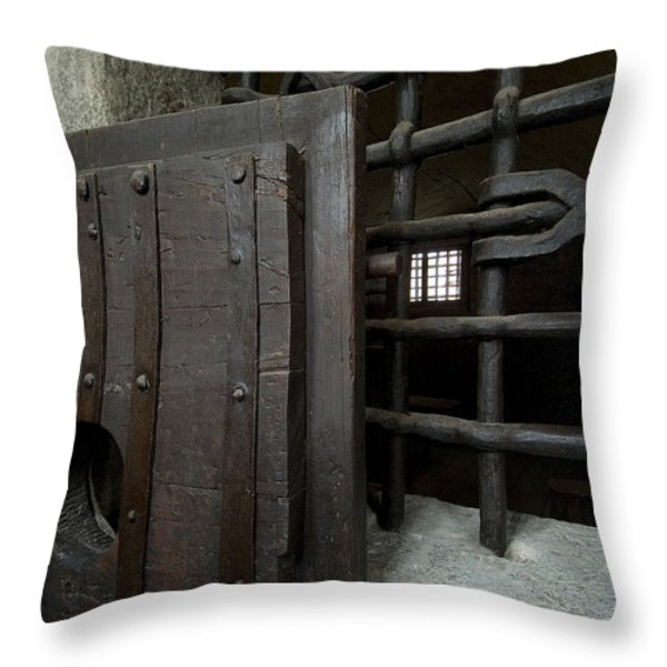 Close View Of Heavy Door To A Cell Throw Pillow by Todd Gipstein