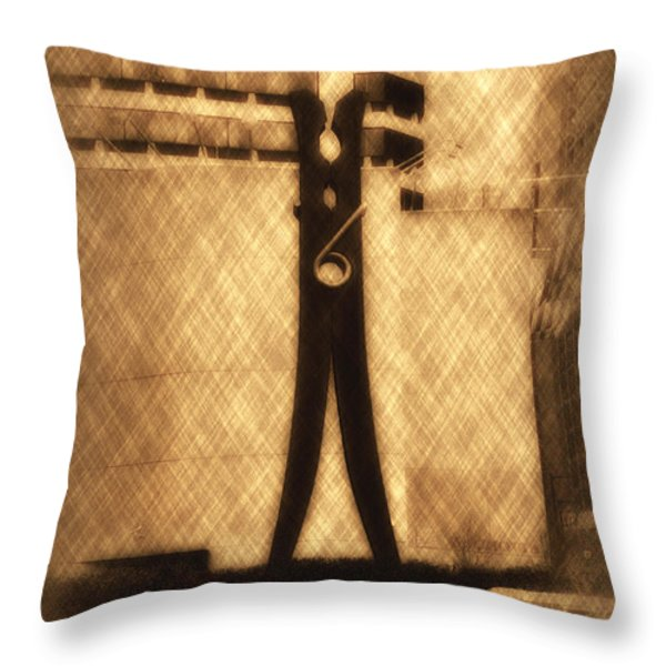 Clothes Pin Statue - Philadelphia Throw Pillow by Bill Cannon