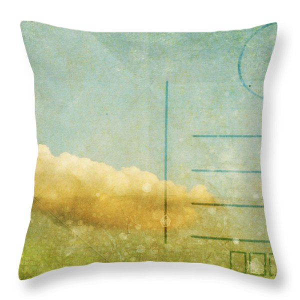cloud and sky on postcard Throw Pillow by Setsiri Silapasuwanchai