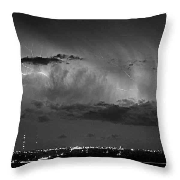 Cloud To Cloud Lightning Boulder County Colorado Bw Throw Pillow by James BO  Insogna