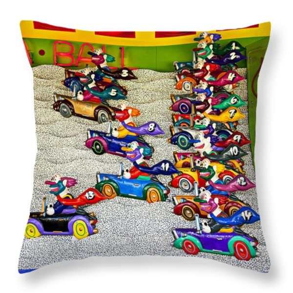 Clown car racing game Throw Pillow by Garry Gay