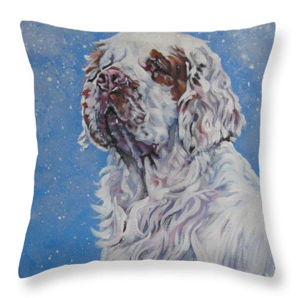 Clumber Spaniel in Snow Throw Pillow by Lee Ann Shepard