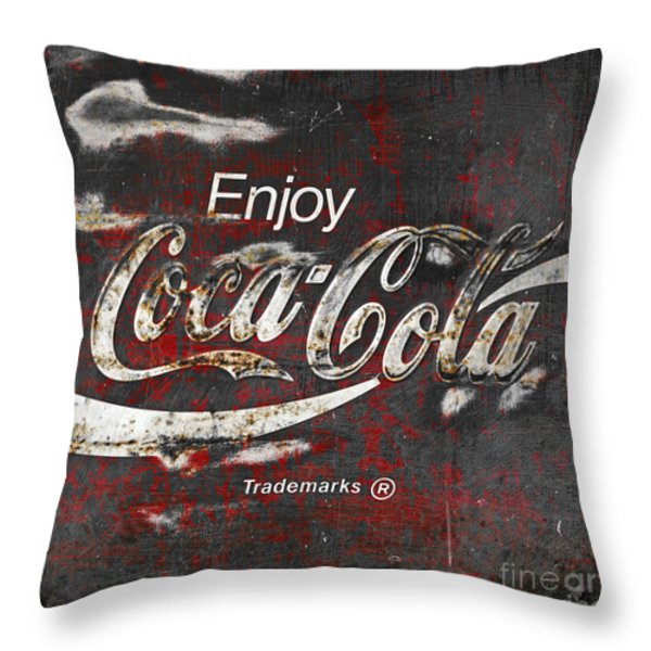 Coca Cola Grunge Sign Throw Pillow by John Stephens