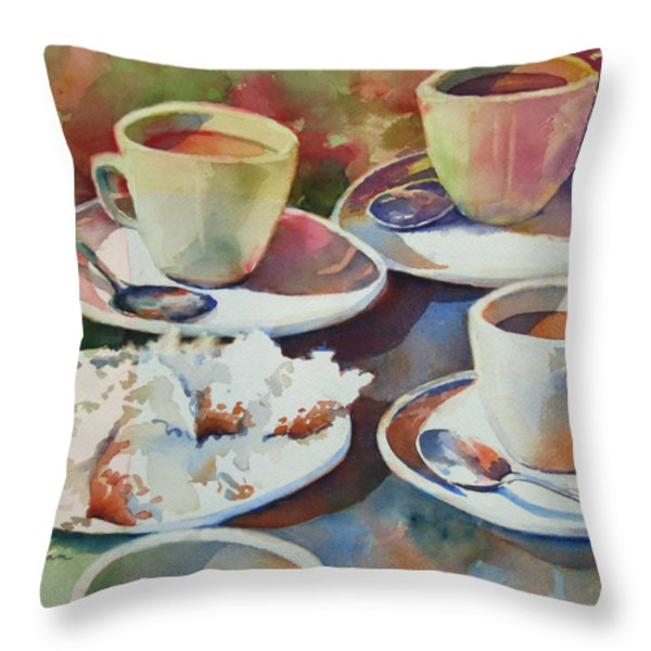 Coffee And Beignets Throw Pillow by Sue Zimmermann