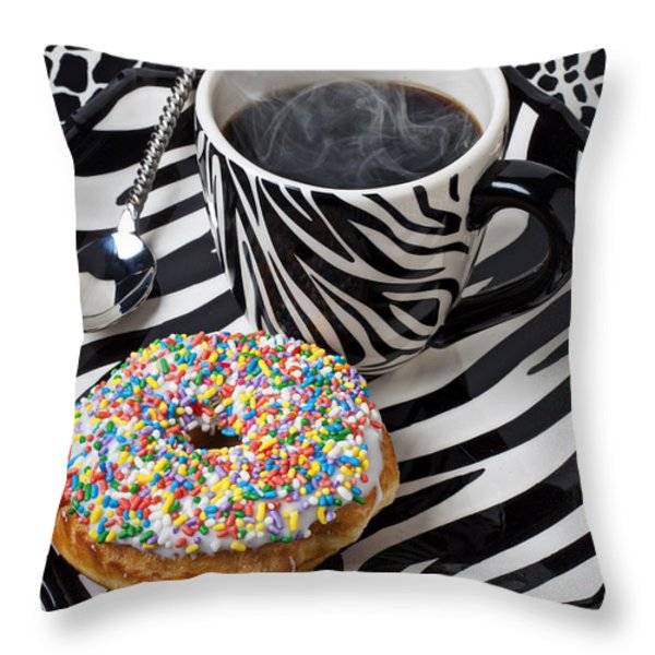 Coffee and donut on striped plate Throw Pillow by Garry Gay