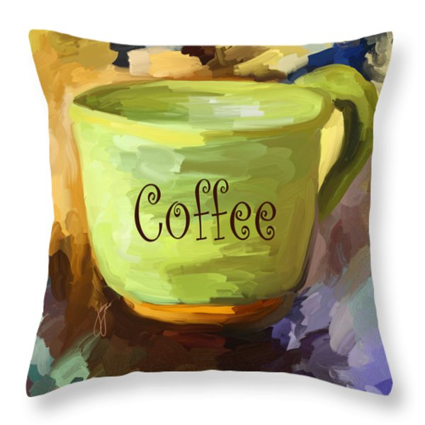 Coffee Cup Throw Pillow by Jai Johnson