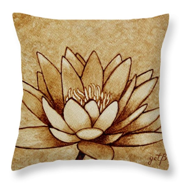 Coffee Painting Water Lilly Blooming Throw Pillow by Georgeta  Blanaru
