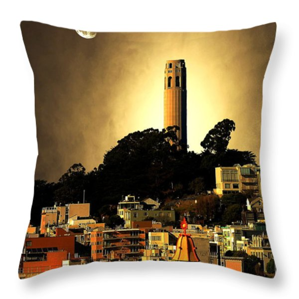 Coit Tower And The Empress Of China Under The Golden Moonlight Throw Pillow by Wingsdomain Art and Photography