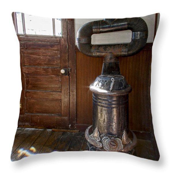 Coles Hot Blast Stove - Molson Ghost Town Throw Pillow by Daniel Hagerman