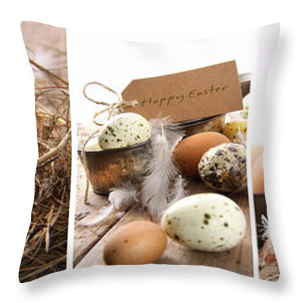 Collage of assorted egg images  Throw Pillow by Sandra Cunningham
