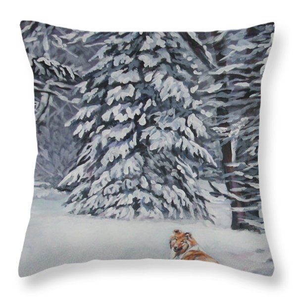 Collie sable Christmas tree Throw Pillow by L A Shepard