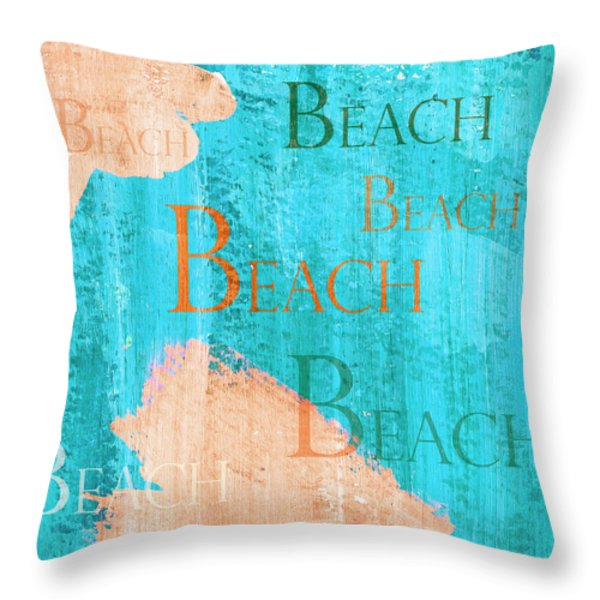 Throw Pillow featuring the painting Colorful Beach Sign by Frank Tschakert