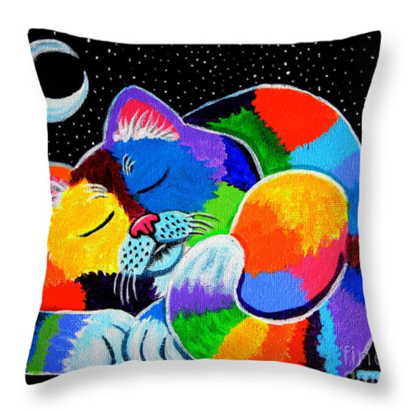 Colorful Cat in the Moonlight Throw Pillow by Nick Gustafson