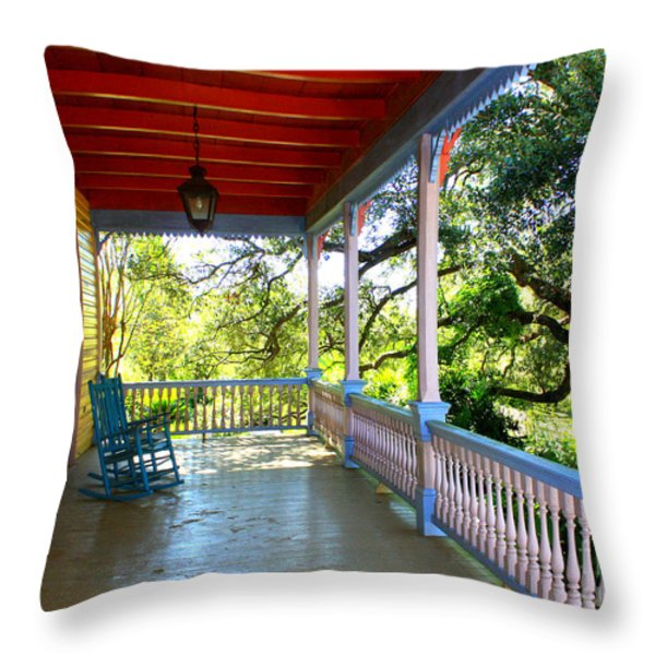 Colorful Creole Porch Throw Pillow by Carol Groenen