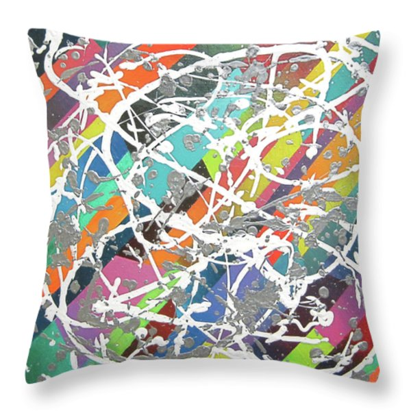 Colorful Disaster Aka Jeremy's Mess Throw Pillow by Jeremy Aiyadurai