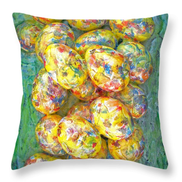 COLORFUL EGGS Throw Pillow by Carl Deaville