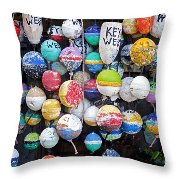 Colorful Key West Lobster Buoys Throw Pillow by John Stephens