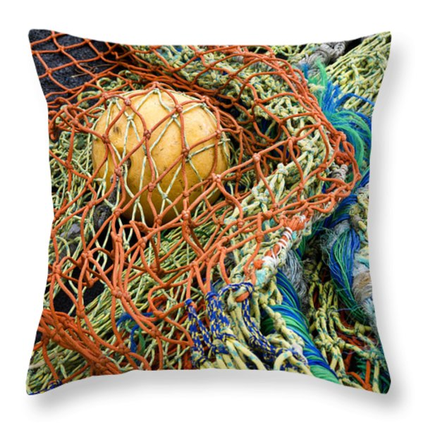 Colorful Nets And Float Throw Pillow by Carol Leigh