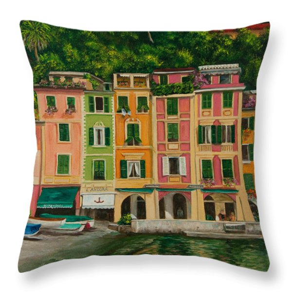 Colorful Portofino Throw Pillow by Charlotte Blanchard