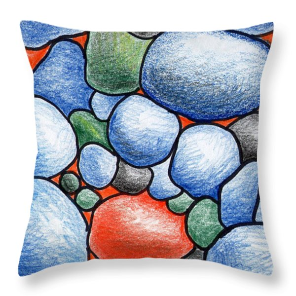 Colorful Rock Abstract Throw Pillow by Nancy Mueller