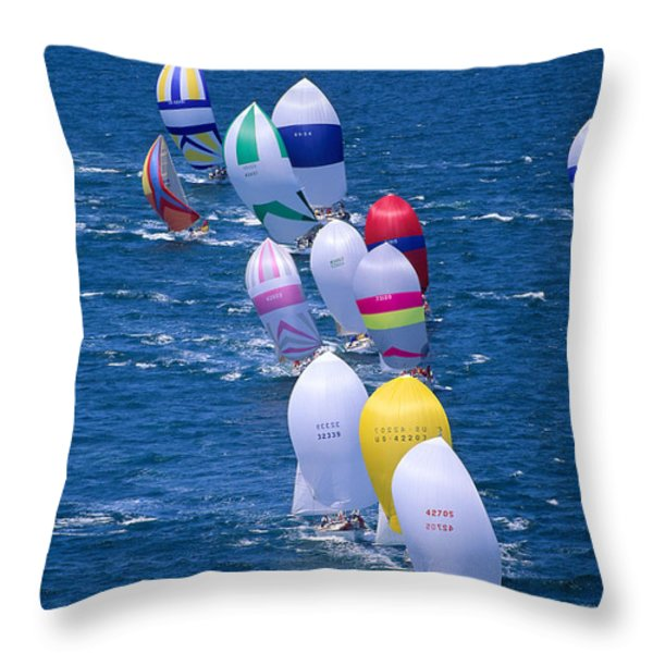 Colorful Sails In Ocean Throw Pillow by Sharon Green - Printscapes