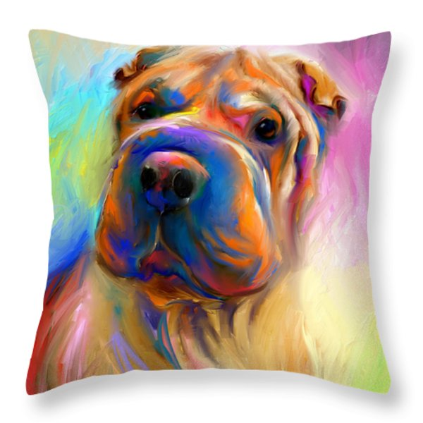 Colorful Shar Pei Dog portrait painting  Throw Pillow by Svetlana Novikova