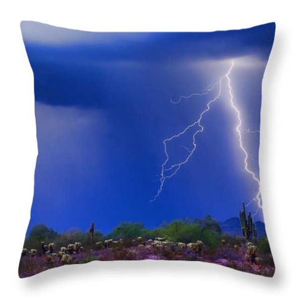 Colorful Sonoran Desert Storm Throw Pillow by James BO  Insogna