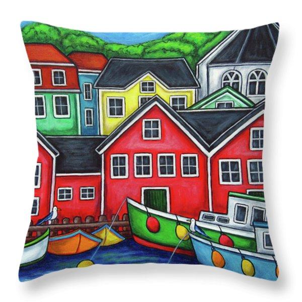Colours of Lunenburg Throw Pillow by Lisa  Lorenz